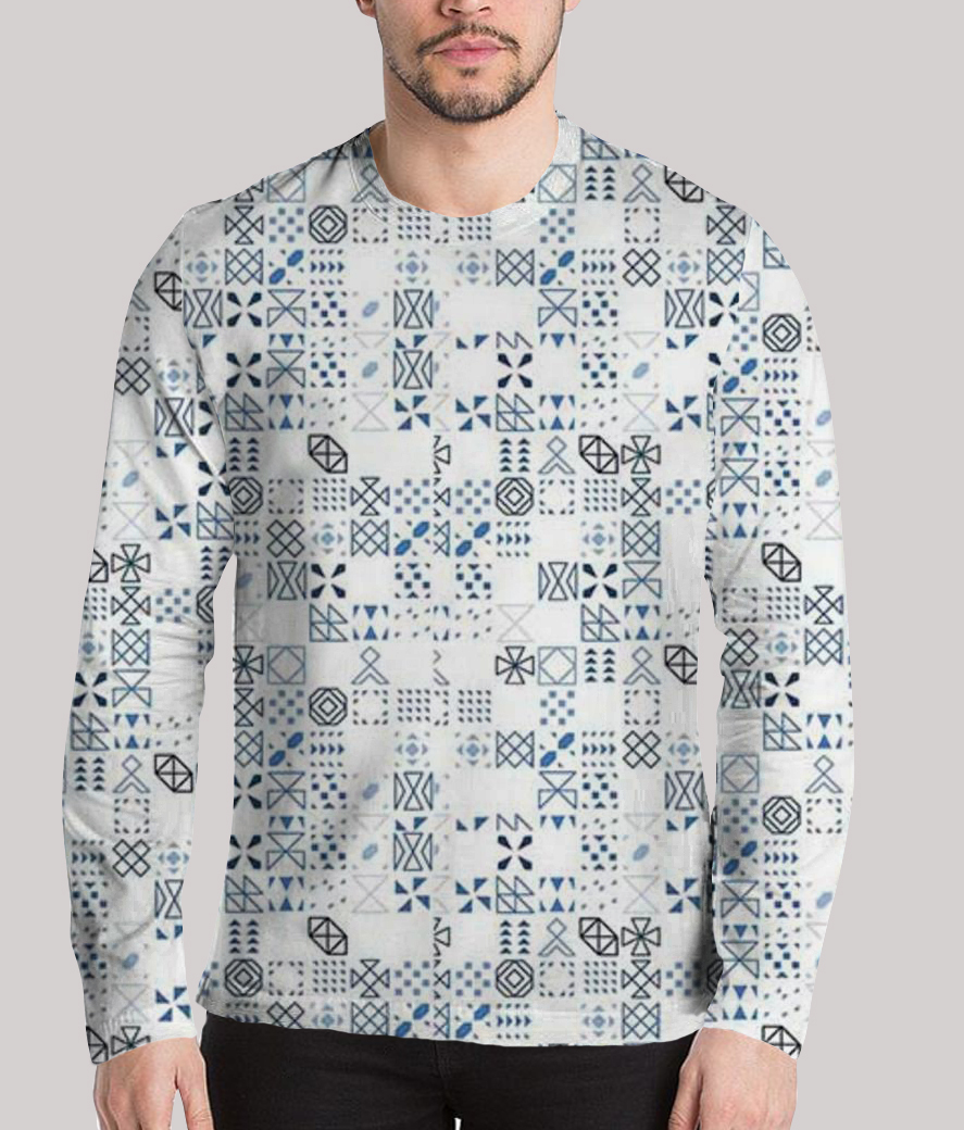 Thinking a lot men's printed full sleeves henley