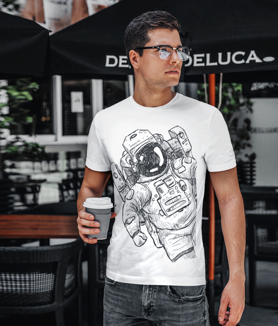 T shirt mockup featuring a young man with glasses drinking coffee 422 el