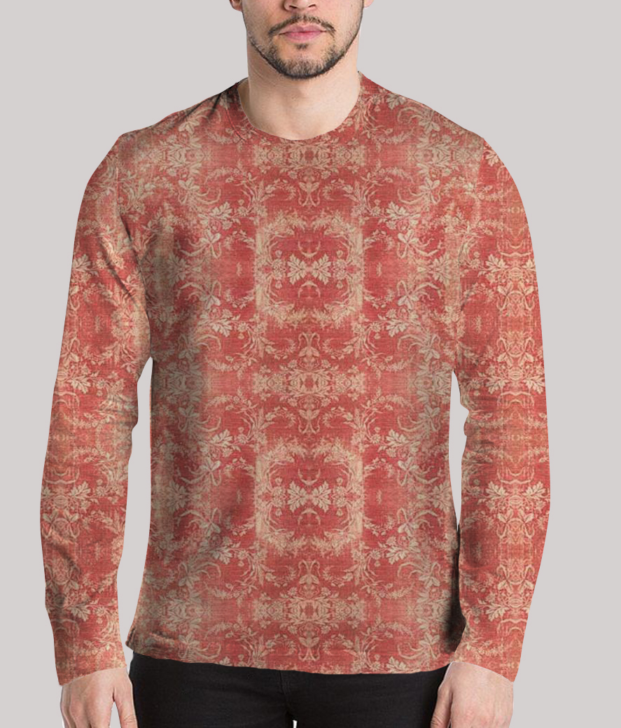The burnt look men's printed full sleeves henley