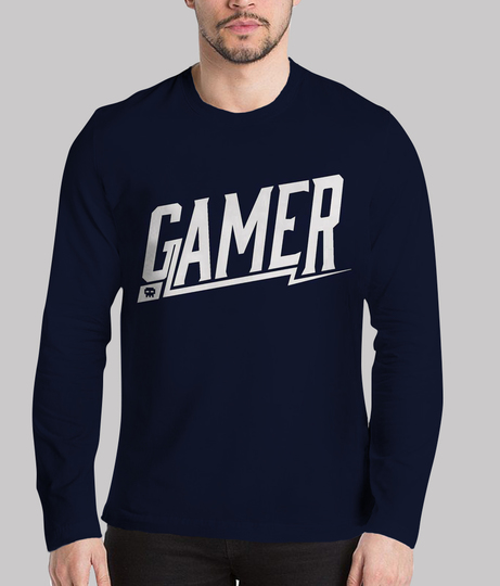 Gamer men's blue printed henley