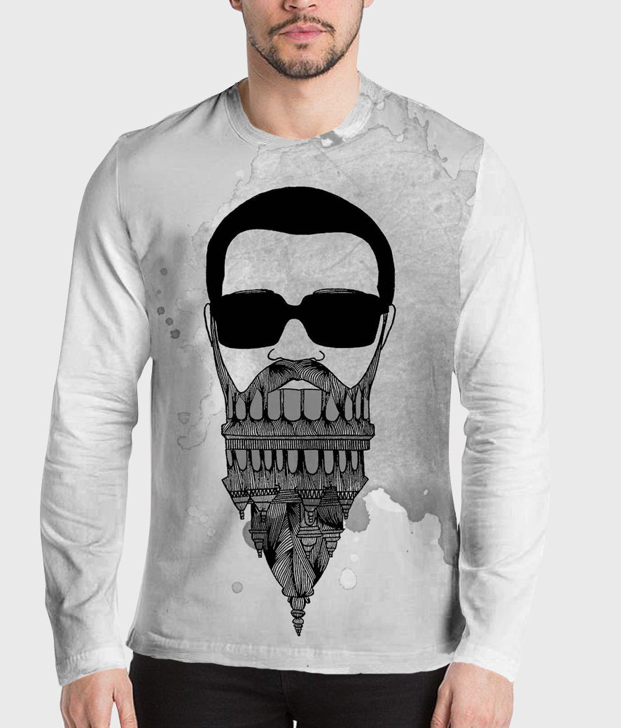 In my beard men's printed henley