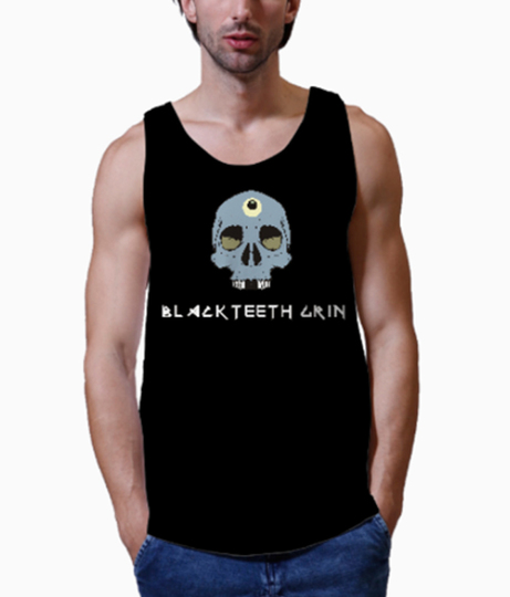 Blackteeth grin men's printed vest close up