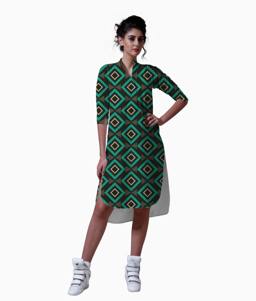 Rectangle and triangle pattern kurta front