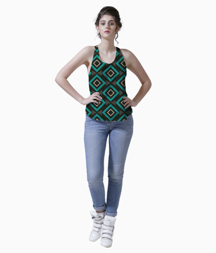 Rectangle and triangle pattern tank front