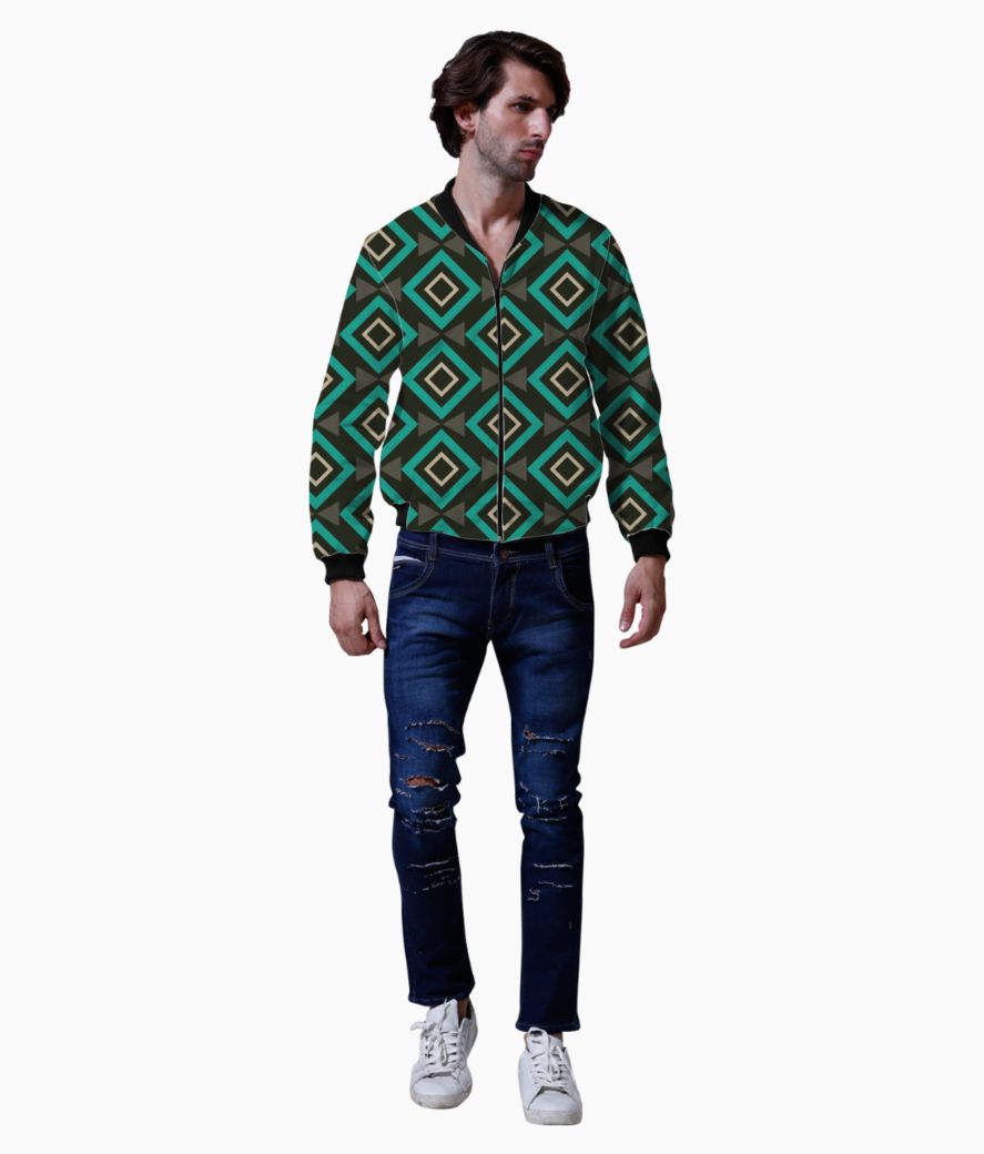 Rectangle and triangle pattern bomber front