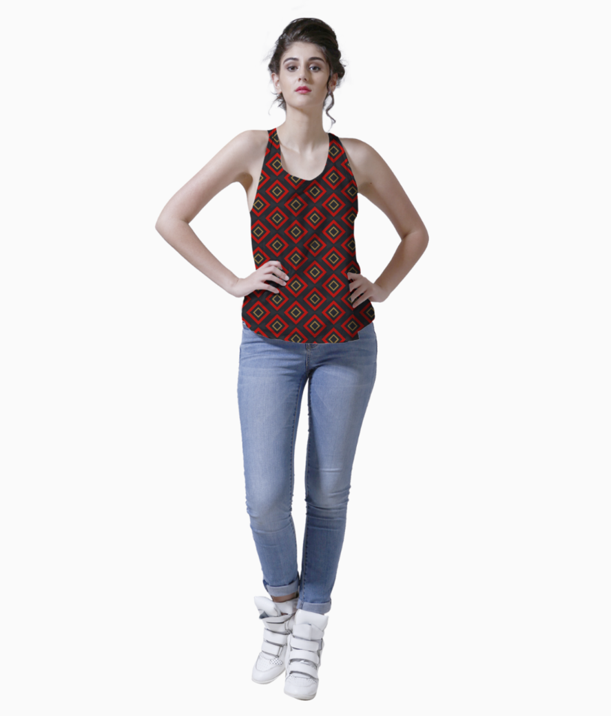 Modern red rectangular tank front