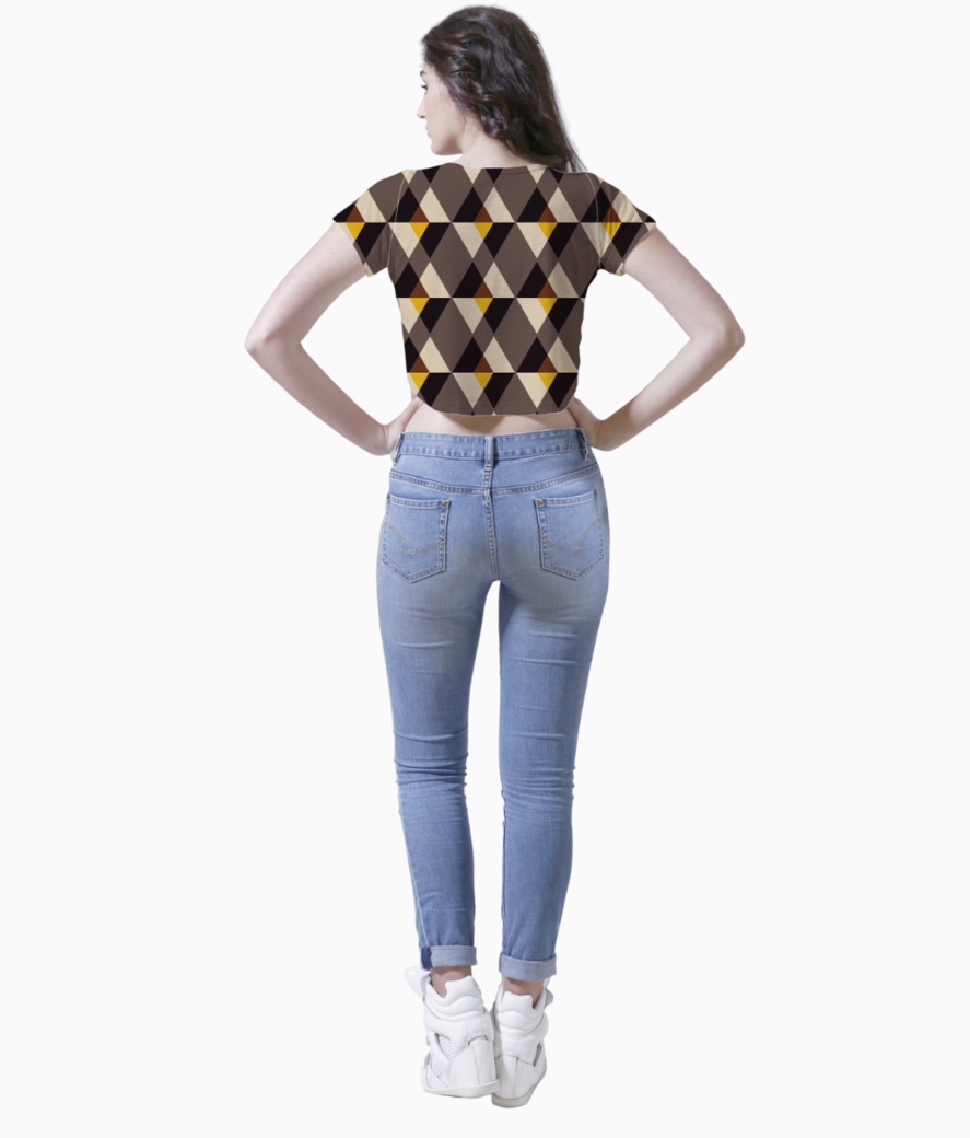 Brown with yellow tile background crop top back