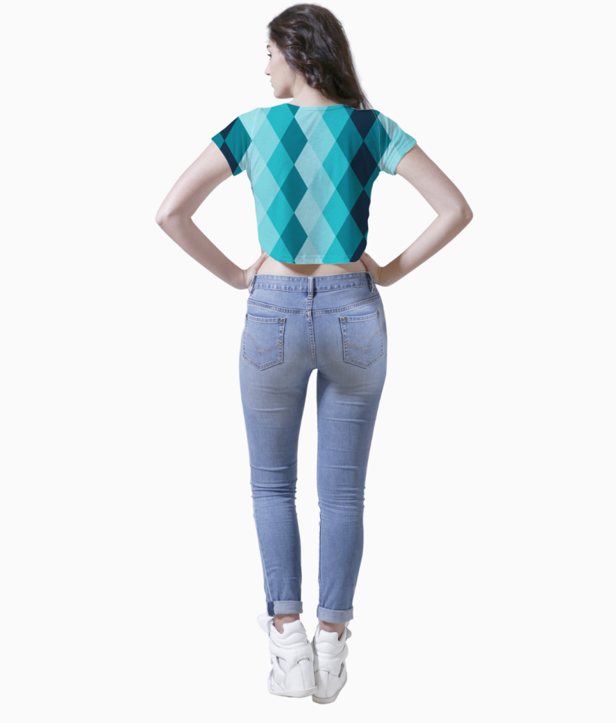 Blue ceramic tile crop top back