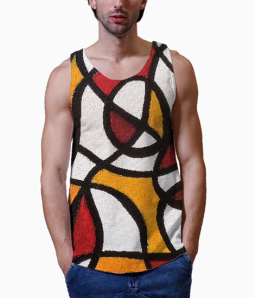 Abstract class men's printed vest close up