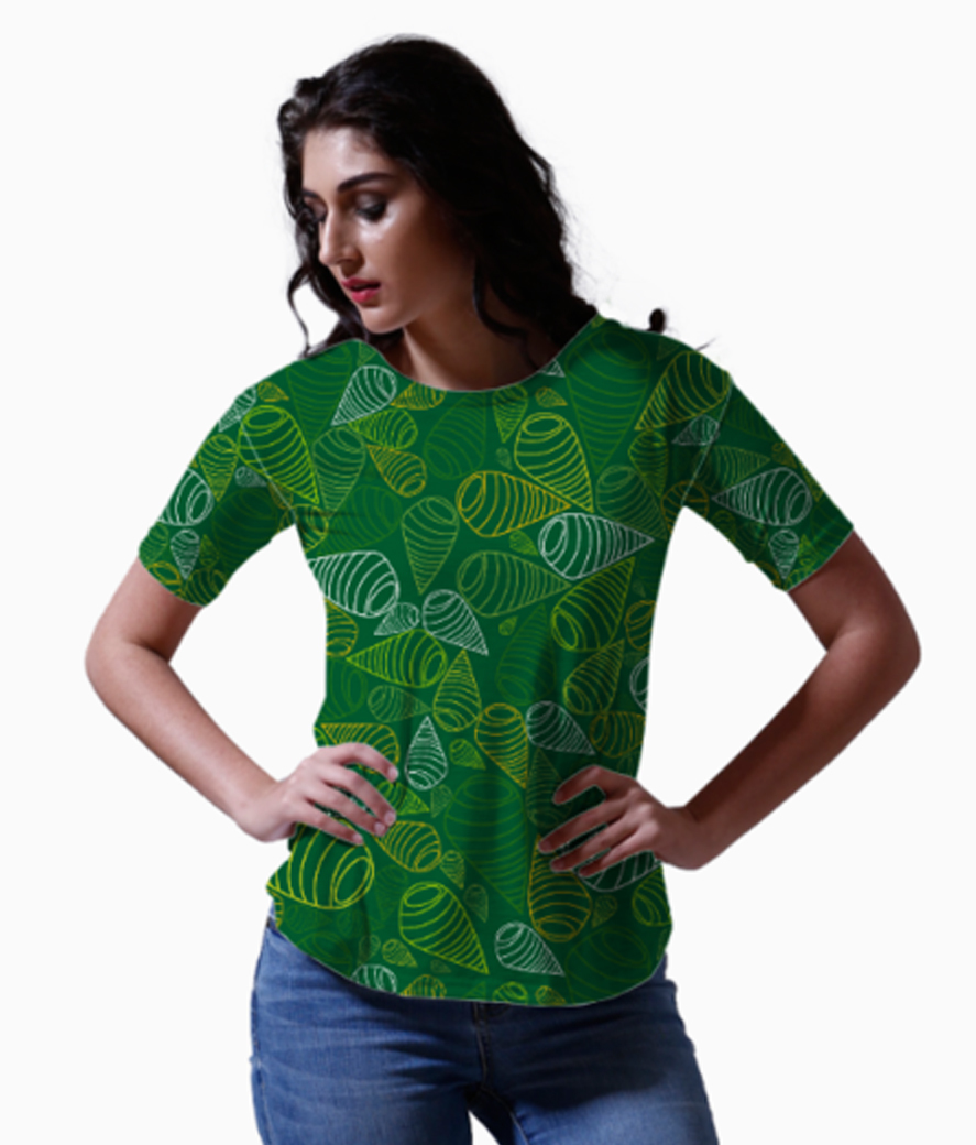 Green traditional swirl fabric tee front
