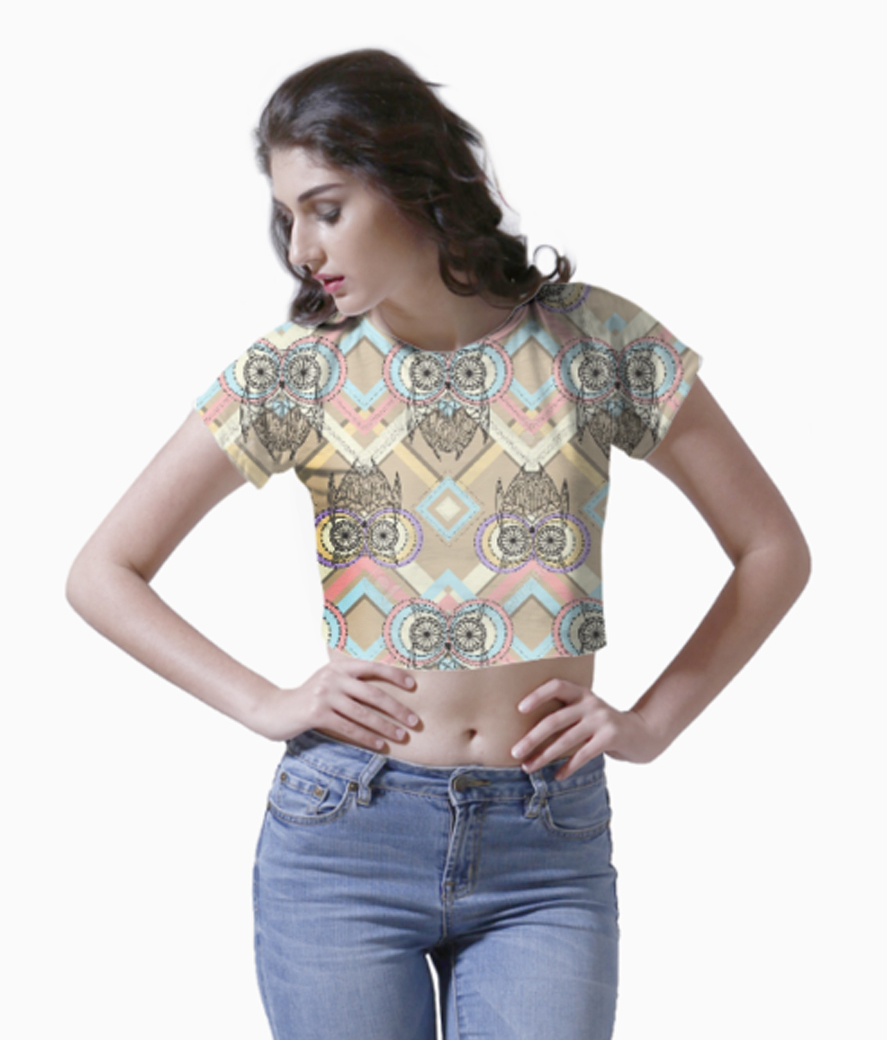 Aztec pattern with owls crop top front