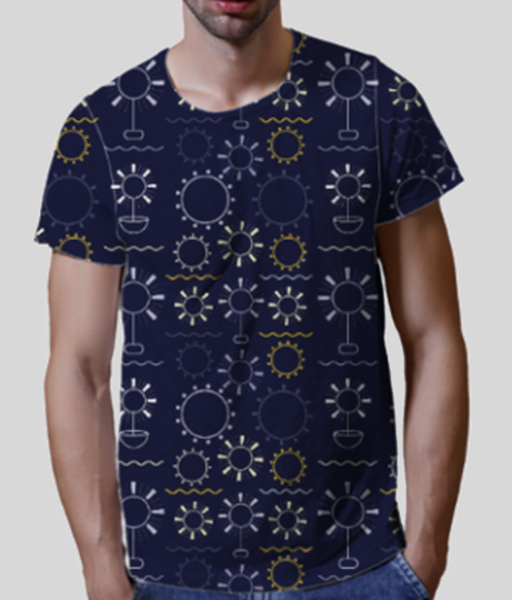 Flowers art geometric shapes dark blue front