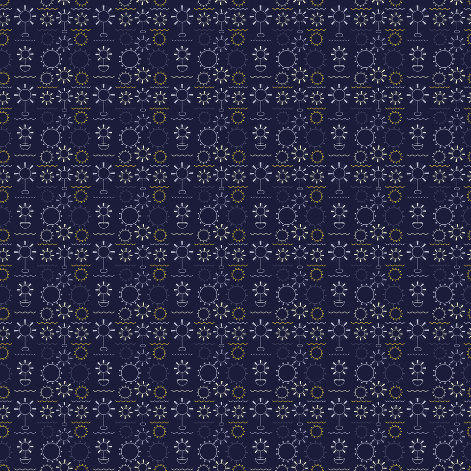 Flowers art geometric shapes dark blue