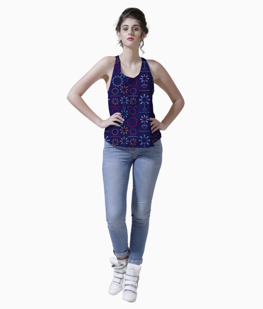 Colorful flowers art geometric shapes tank front