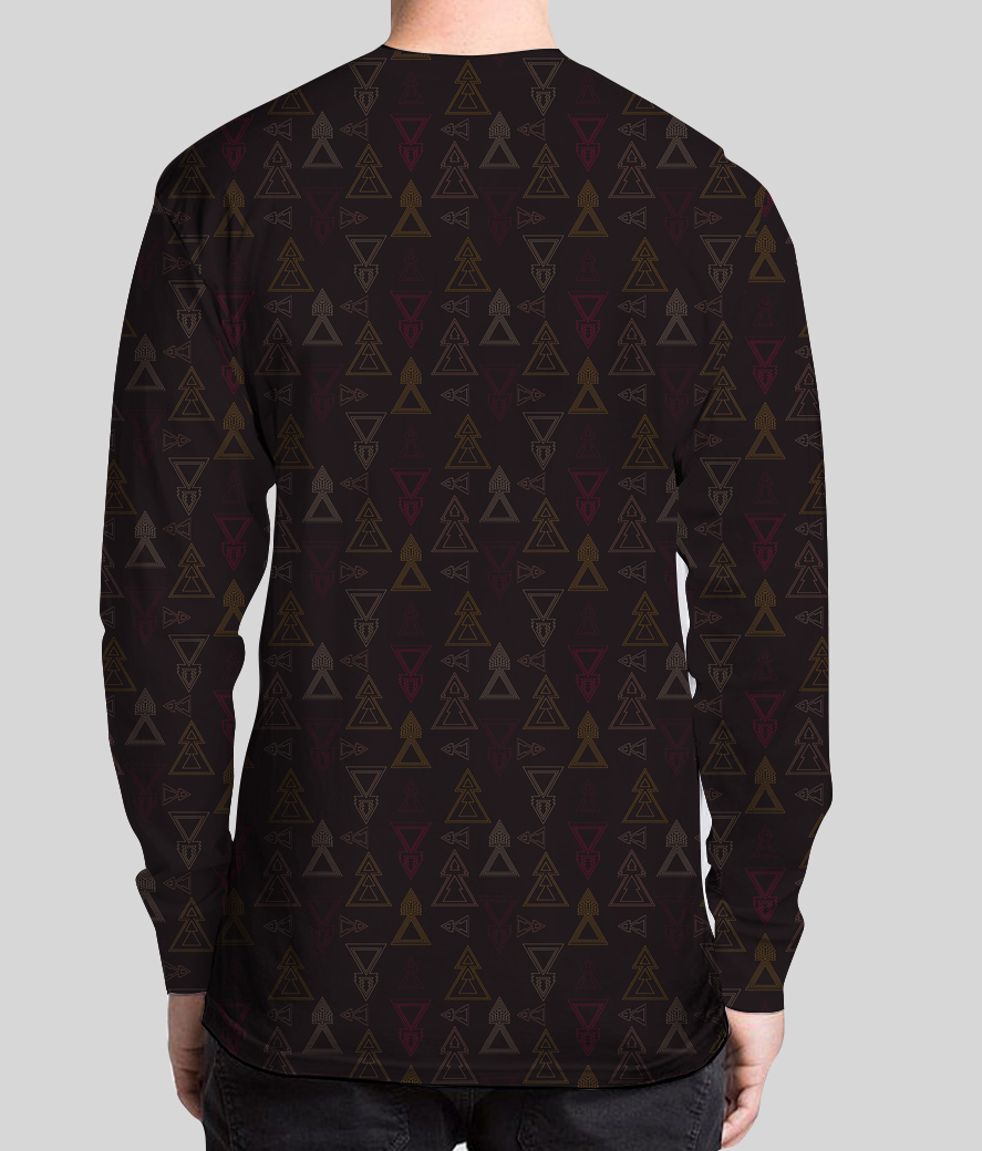 Seamless geometric triangle arrows men's printed henley back