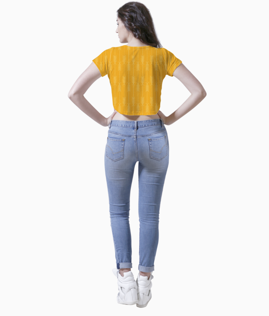 Yellow arrows fabric crop top back