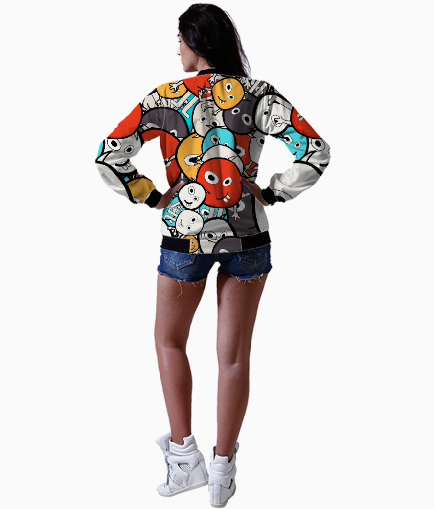 Colorful monster faces bomber back