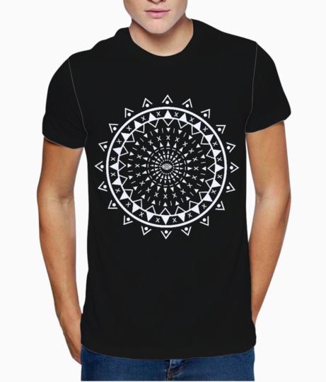 Tribal pattern white t shirt front