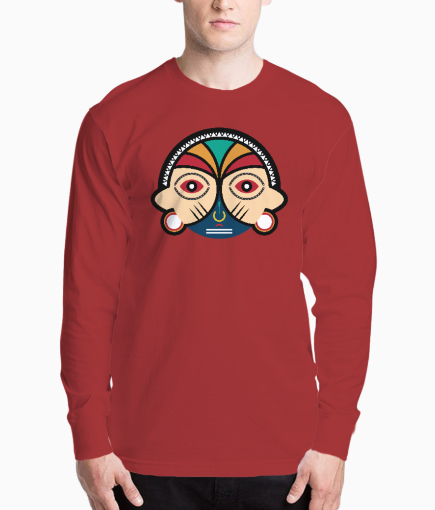 Round tribal mask henley front