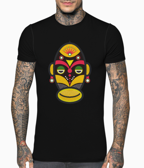 African traditional tribal mask t shirt front