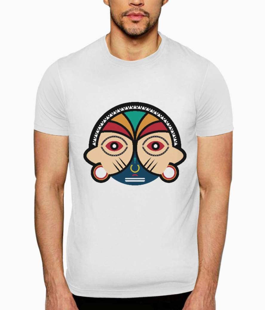 Round tribal mask t shirt front