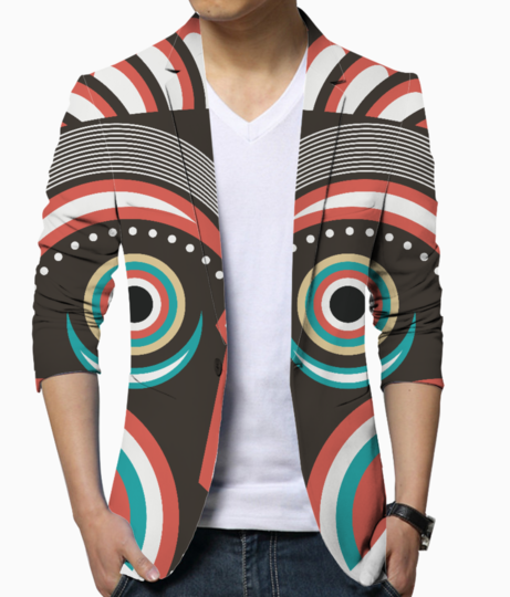 Lulua ethnic tribal mask men's blazer front
