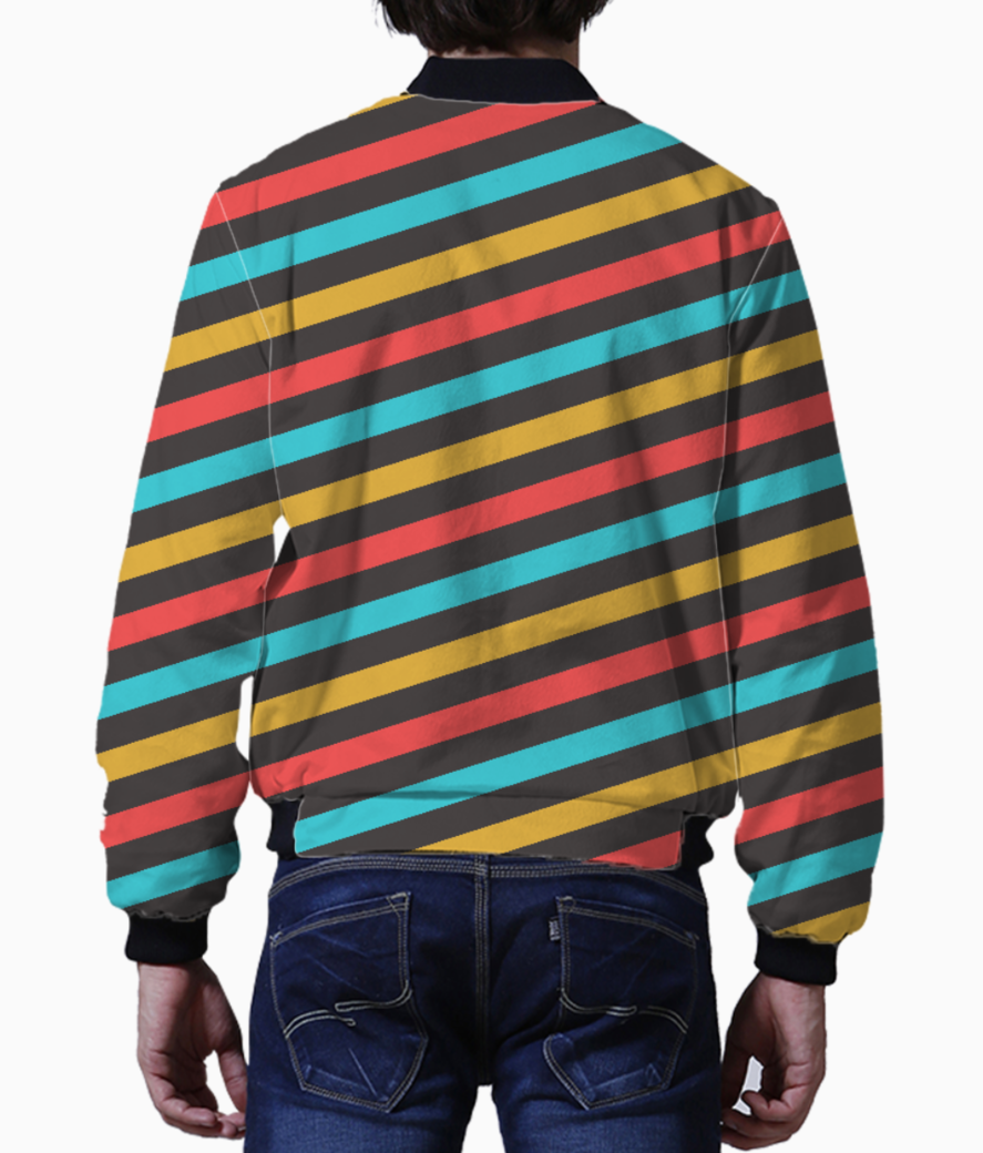 Retro stripe men's bomber back