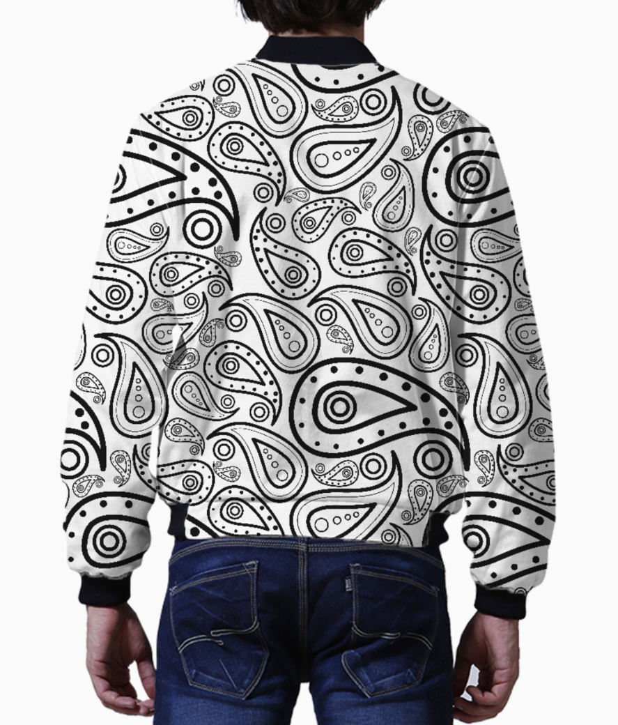 Black and white paisley men's bomber back