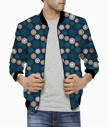 Blue symbolic camomiles floral men's bomber front