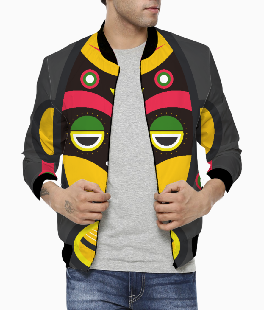 African traditional tribal mask men's bomber front