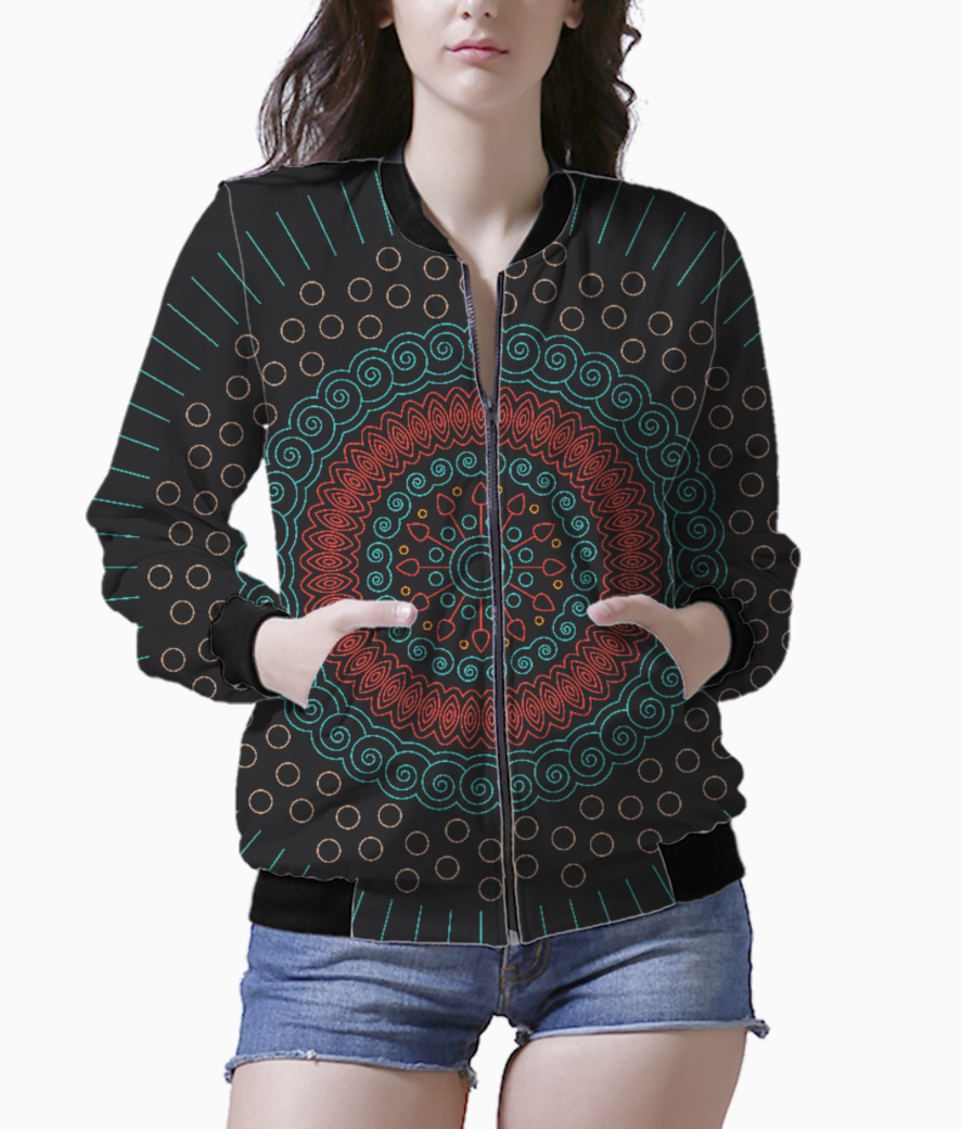 Red with green mandala circular women's bomber front