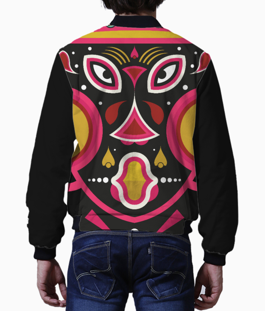 Ceremonial tribal mask men's bomber back