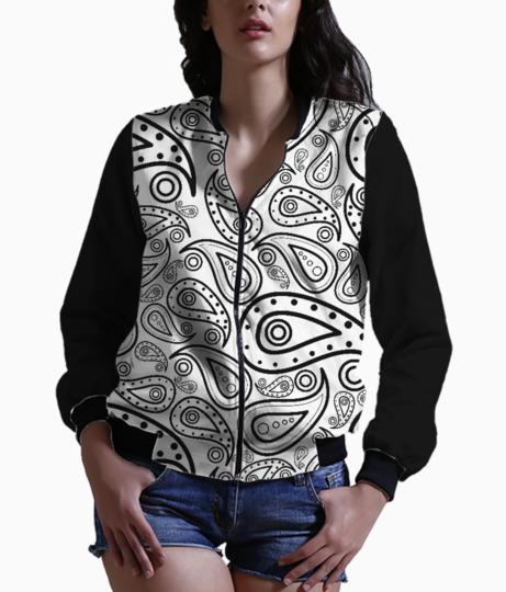Black and white paisley women's bomber front
