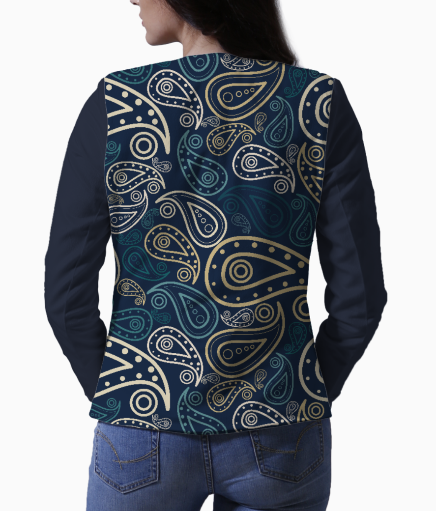 Paisley illustration women's blazer back