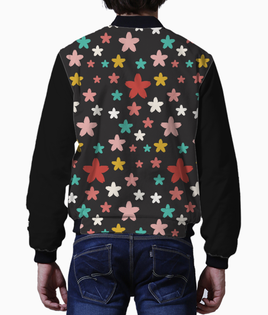 Symmetric star flowers men's bomber back