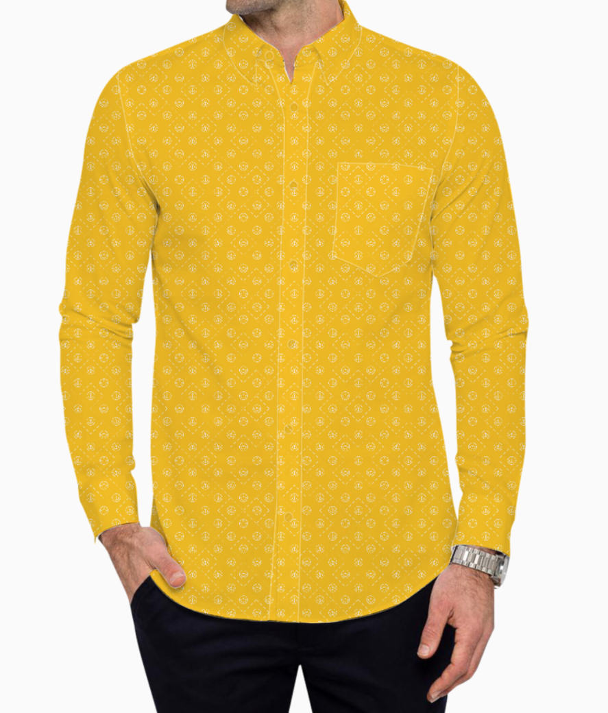 Yellow and white anchor basic shirt front