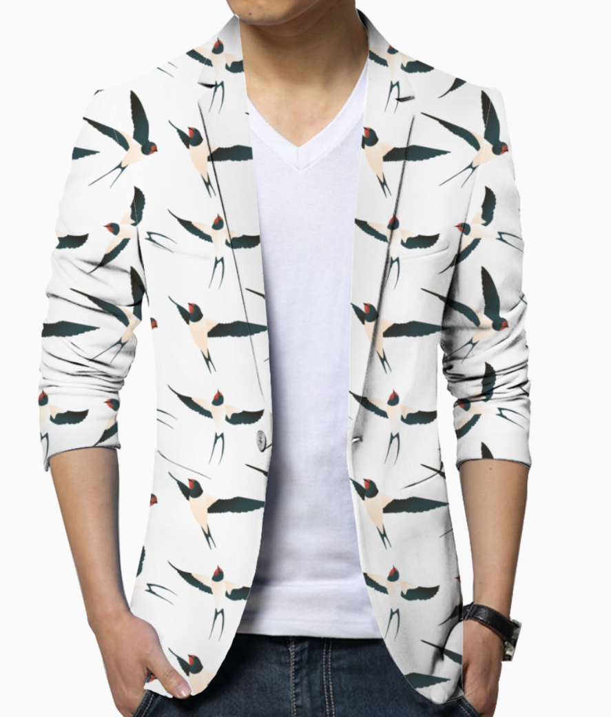 Bird pattern men's blazer front