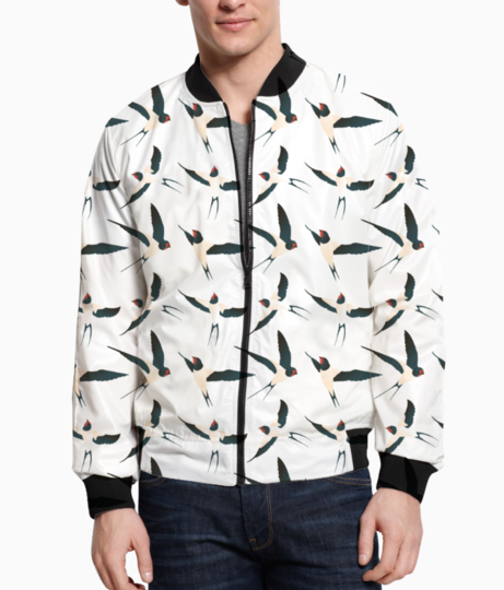Bird pattern men's bomber front
