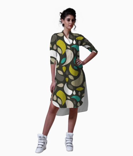 Leaves and geometric shapes kurta front