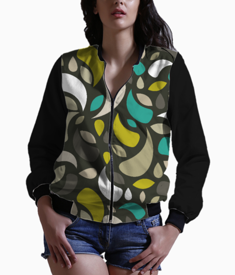Leaves and geometric shapes women's bomber front
