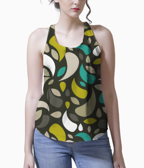 Leaves and geometric shapes tank front