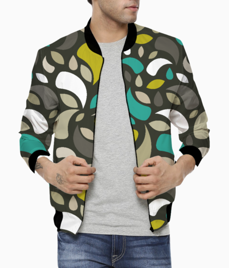 Leaves and geometric shapes men's bomber front