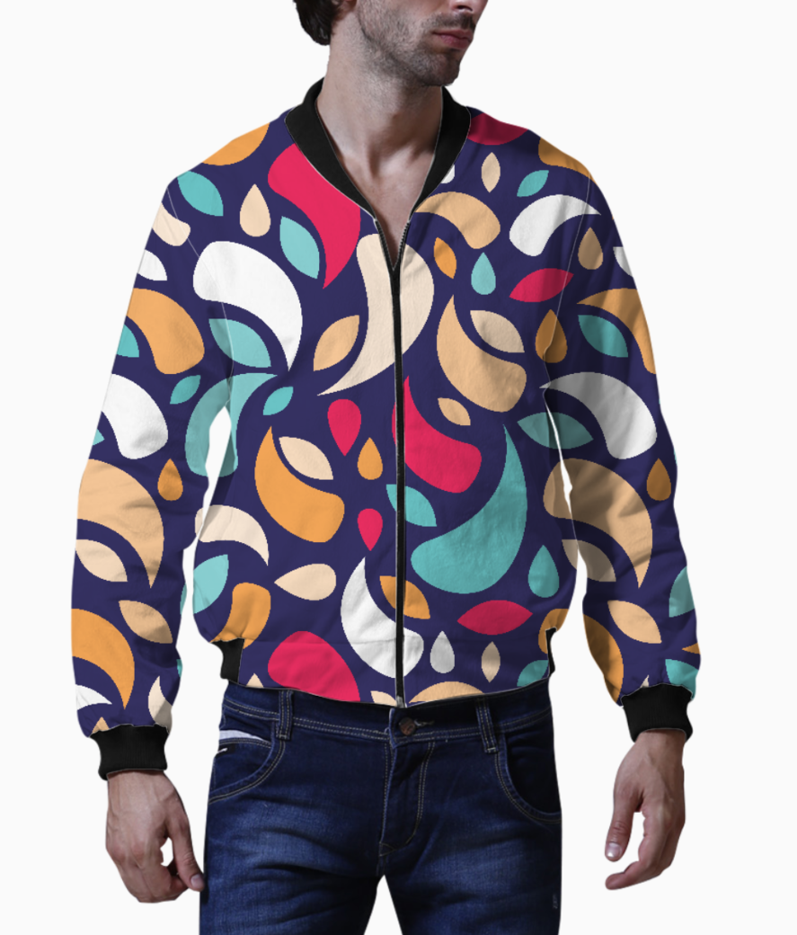Multicolor leaves and geometric shapes men's bomber front