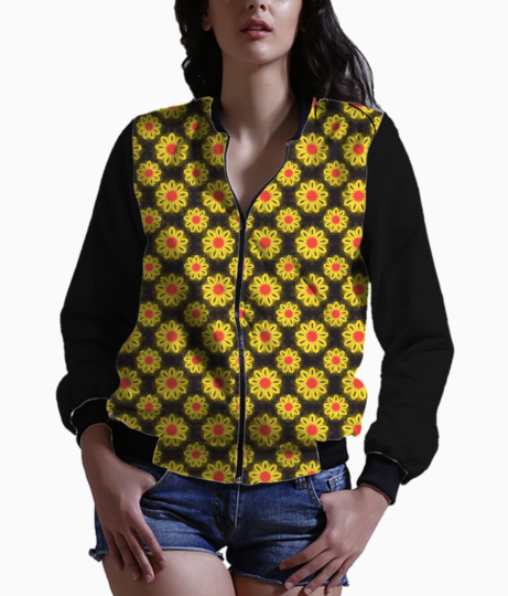Summer flowers women's bomber front