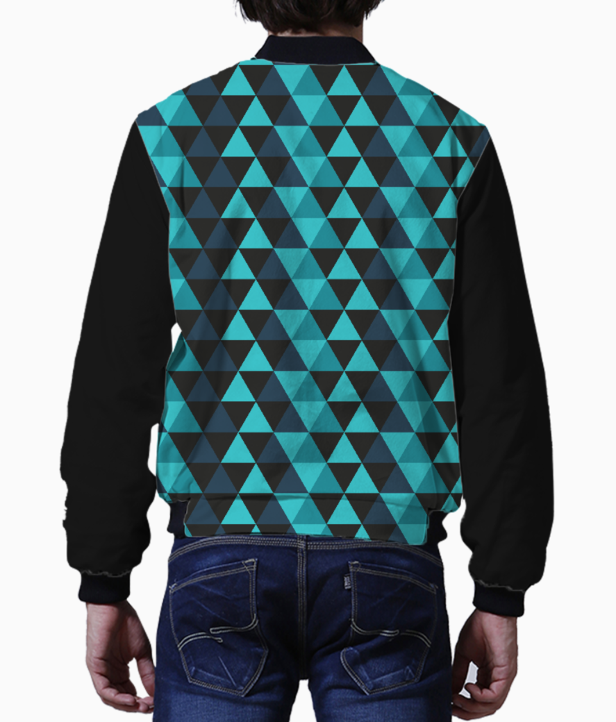 Abstract blue triangles men's bomber back
