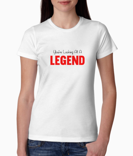 Red legend typography tee front
