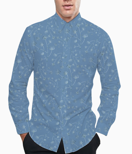 Blue spring basic shirt front