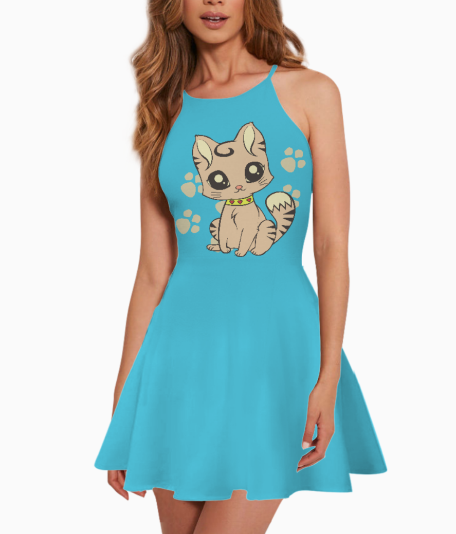 Kitten and paw summer dress front