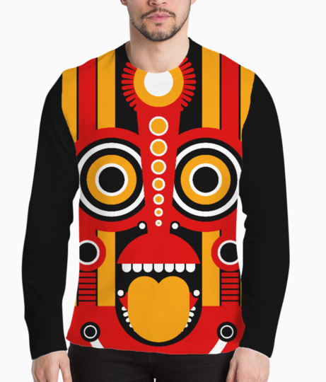 Tiki mask henley front
