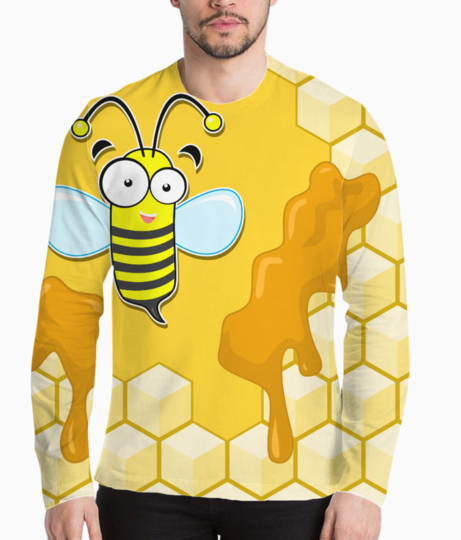 Yellow bee henley front